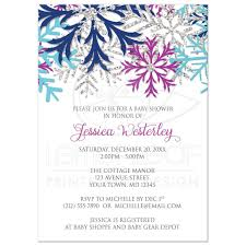 Snowflake Baby Shower Invitations Baby Shower Invitations Turquoise Navy Orchid Silver Snowflake