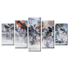 5 panels wall decor star wars battle of hoth canvas art movie poster picture printed decorative on star wars canvas panel wall art with 5 panels wall decor star wars battle of hoth canvas art movie poster