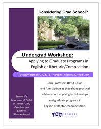 tcu department of english applying to grad school workshop