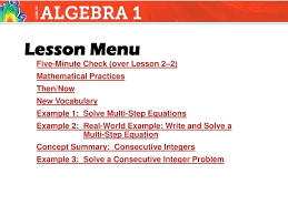 multi step equations integers math five minute check over lesson 2 2 mathematical practices then now