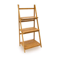 Relaxdays Bamboo Ladder Rack With 3 Shelves 100 X 45 X 33 Cm Bathroom Shelving Storage Unit Natural Brown