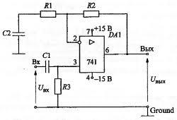 курсовая работа по схемотехнике Усилитель аналогичен схеме неинвертирующего РУ конденсатор С2 используется для минимизации входного напряжения покоя усилителя представлен на рис 2 1