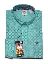 Cinch Jacket Size Chart Cinch Mens Geometric Print Turquoise Ls Button Down Shirt Mtw1104521 D