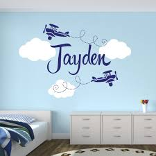 personalized airplane name clouds decal nursery decor home decoration kids decal children room decor vinyl wall