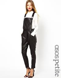 black leather overalls asos petite leather overalls