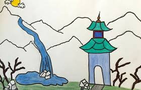 chinese landscape drawings by fifth grade students