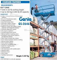 genie gs 2646 scissor lifts on wheels scissor lifts aerial genie gs 2646 machinery specifications