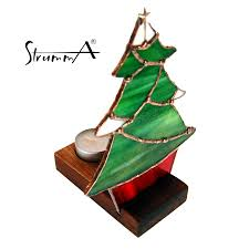 strumma stained glass art handmade tree tealight candle holder with stand
