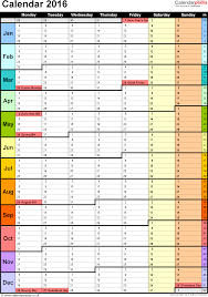 Template 15: Yearly calendar 2016 as PDF template, portrait ...