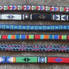 new12 maasai leather beaded dog collars from kenya