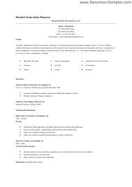 Sample Student Resume For Internship Resume Template For College