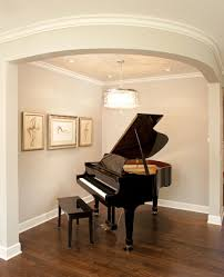 Grand Piano Music Light Baby Grand Piano On Dark Wood Floors With White Enameled