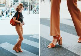 low chunky heels outfit street style