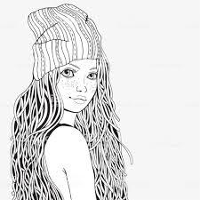 Leuk Meisje Kleurplaat Boek Voor Volwassene Zwartwit Doodle Stijl