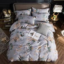 2018 yellow flowers light grey bedding set 4pcs queen king size egyptian cotton fabric duvet cover