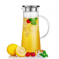 glass iced tea pitcher. Simple Iced Glass Water Carafe With Stainless Steel Lid 50 Oz  15 L Borosilicate  Iced Throughout Tea Pitcher Y