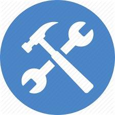 tools icon. blue, build, circle, project, repair, settings, tools icon l