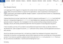Sample Request For Letter Of Recommendation For Graduate