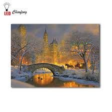 Lighted Central Park Canvas Wall Art Led Canvas Printing Winter Night In Central Park Christmas Illuminated Canvas Paintings Light Up Posters And Print Holiday Gift