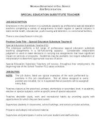 Example Teacher Resumes Substitute Teacher Resume Examples