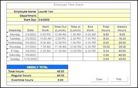 Excel Employee Time Sheet Job Timesheet Excel Template
