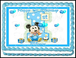 Baby Mickey Mouse Edible Cake Decorations Amazoncom Baby Mickey 1st Birthday Edible Frosting Sheet 1 4