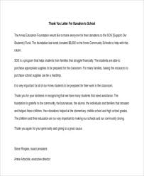 sle thank you letter for donation
