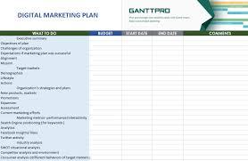 Digital Marketing Plan Free Download Excel Template