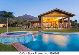 luxury home swimming pools. Luxury Home With Swimming Pool At Sunset - Csp19991947 Pools