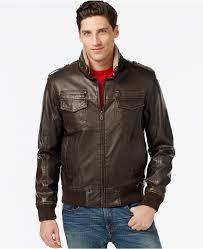 brown leather er jackets tommy hilfiger faux leather faux fur military er jacket
