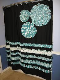 shower curtain custom made fabric ruffles flowers aqua teal turquoise hot pink black white stripes dots damask chevron chevron