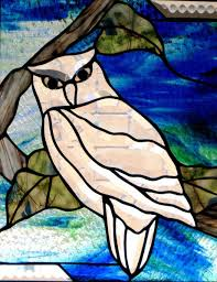 owl office decor. custom made stained glass beveled owl hanging panel home or office decor