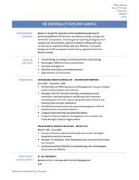 Formidable Human Resource Resume Sample On Hr Generalist