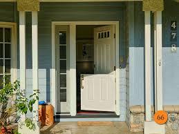 single 36x80 fiberglass dutch door with active sidelight and screen in 55 inch wide entryway