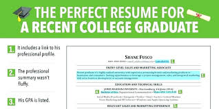 Resume Template For Recent College Graduate Free Student