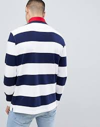 polo ralph lauren bring it back embroidery flags long sleeve stripe rugby contrast collar in white