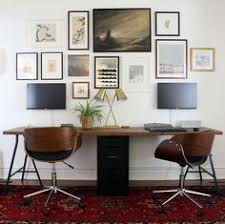 home office with two desks. Check Out The Most Popular Desks For Two People: T Shaped, Office Desks, Home With