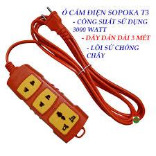 Ổ cắm điện công suất cao 3000 watt SOPOKA T3 dây dài 3 mét - lõi sứ chống  cháy - vỏ chống vỡ giá cạnh tranh