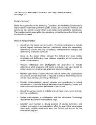 Duties Of A Marketing Consultant Job Description Marketing Coordinator San Diego Jewish