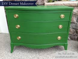 colorful painted furniture. Clover-Green-Bow-Front-Dresser-Before-And-After- Colorful Painted Furniture