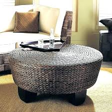 seagrass round coffee table endearing round woven coffee table adorable round wicker ottoman coffee with large