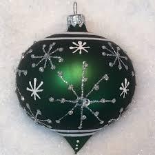 Weihnachtskugeln Schneeflocke Grünsilber Glas 8cm 6er Set