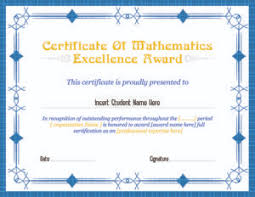 Award Of Excellence Certificate Template Mathematics Excellence Award Certificates Professional Certificate 35