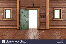 house front door open. Empty Entrance Room Of A Wooden House With Open Front Door And Two T