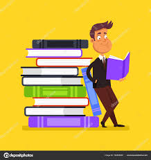 happy smiling man character reading open book education literature library element concept vector flat cartoon design graphic isolated ilration