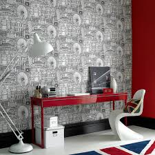 wallpapered office home design. Stylish Modern Wallpaper Idea Wallpapered Office Home Design I
