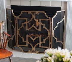 antique gold mesh firescreen