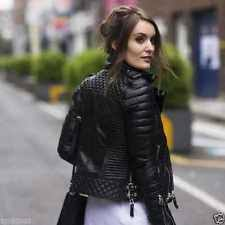 Black Quilted Leather Jacket | eBay & Women's Black Slim Fit Diamond Quilted Kay Michaels Biker Real Leather  Jacket Adamdwight.com