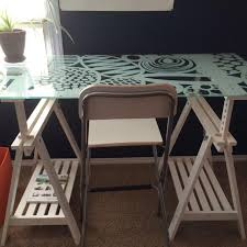 glass desk table tops. Adjustable Height IKEA Tempered Glass Table Top Desk With Folding Chair/bar Stool. OPEN Tops