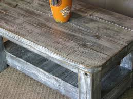 rustic coffee table with shelf in weathered grey choose from rounded or squared corners
